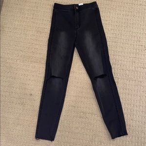 Black High Waisted H&M Jeans Distressed